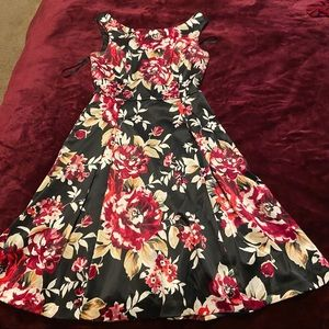 Floral Satin Dress with Pockets